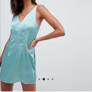 Boohoo metallic blue/green mini dress